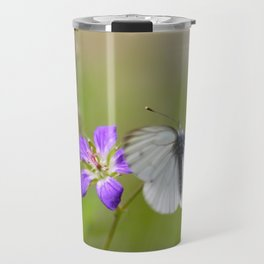 White Butterfly Natural Background Travel Mug