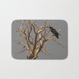 RAVEN ON DEAD TREE GREY ART Bath Mat