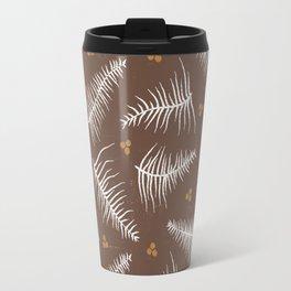 Fronds & Berries on Brown Travel Mug