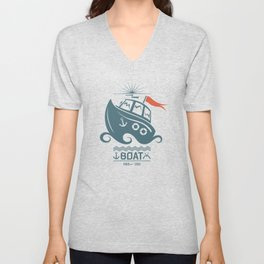 Brave small boat print Unisex V-Neck