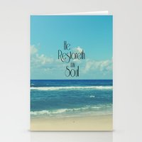 bible verse Stationery Cards featuring He Restoreth My Soul Bible Verse with Beach by Quote Life Shop
