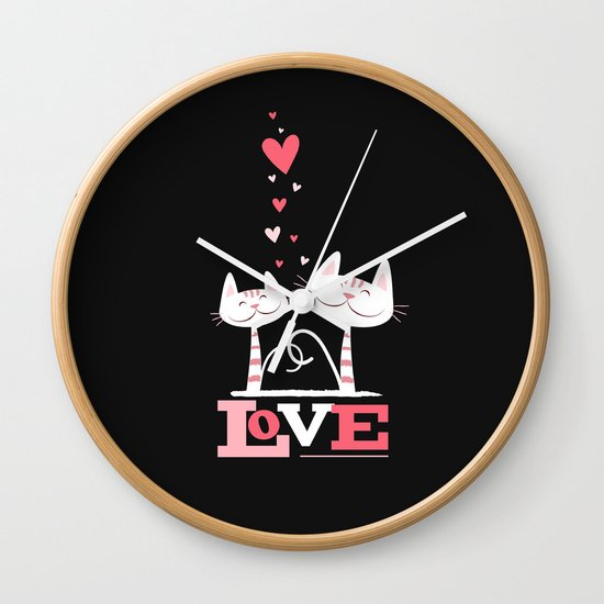 2 Cats in Love Wall Clock