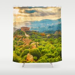 Agrigento and the Valley of the Temples Shower Curtain
