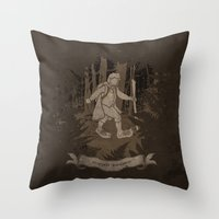 bigfoot Throw Pillows featuring Bigfoot Baggins by jerbing