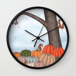 heirloom pumpkins, squirrels, & the oak tree Wall Clock