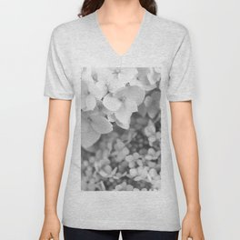 Flowers Blooming (Black and White) Unisex V-Neck