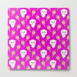 Cute happy playful cuddly funny baby kittens, sweet adorable yummy colorful Kawaii rainbow ice cream popsicles cartoon summer pink pattern design. Metal Print