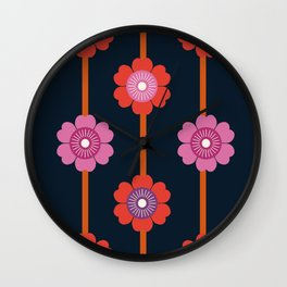 Peace - 70s retro vibes flower power floral flowers pattern art 1970's Wall Clock