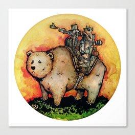Bear-Mounted Raccoon Patrol Canvas Print