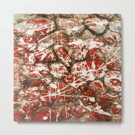Red Paint Abstract Drip Stones AKA Pollock Metal Print