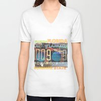 florida V-neck T-shirts featuring Florida by Vivian Fortunato
