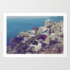 Oia from afar  Art Print