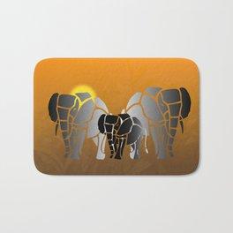 African elephants in sunrise Bath Mat