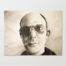 Hunter S. Thompson Portrait in Charcoal Canvas Print