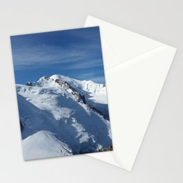 Awesome white snowy Mont Bla   nc Alps mountains in Italy, France, Europe on a beautiful winter day Stationery Cards
