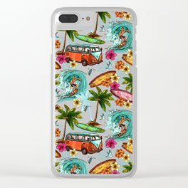 Summer surfing Clear iPhone Case
