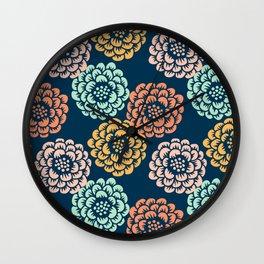 Indigo & Papaya Pattern 10 Wall Clock