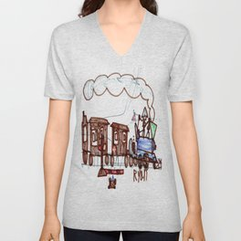 Steam Engine at a Crossing Unisex V-Neck