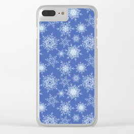 Christmas pattern with snowflakes on blue. Clear iPhone Case