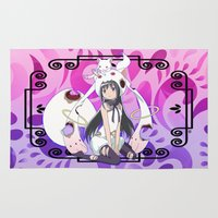 madoka Area & Throw Rugs featuring Akemi Homura in Kyubey's Dress by Neo Crystal Tokyo