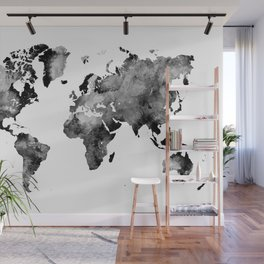map black and white #map #world Wall Mural
