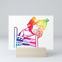 rainbow showjumper Mini Art Print