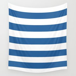 Lapis lazuli - solid color - white stripes pattern Wall Tapestry