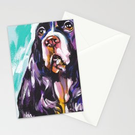 fun English Springer Spaniel bright colorful Pop Art painting by Lea Stationery Cards