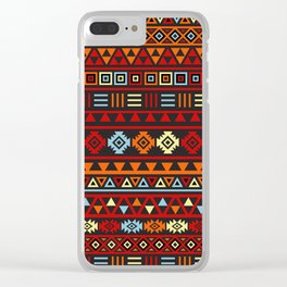 Aztec Influence Ptn IV Orange Red Blue Black Yellow Clear iPhone Case
