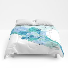 Detailed map of Mexico with states, aquamarine blue Comforters