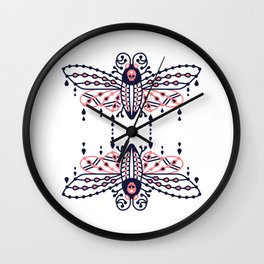 Death's Head Hawkmoth – Blush & Navy Palette Wall Clock