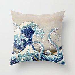 Haku and the Great Wave Throw Pillow