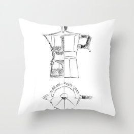 Coffee pot blueprint sketch  Throw Pillow