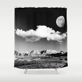 Black Desert Sky & Moon // Red Rock Canyon Las Vegas Mojave Lune Celestial Mountain Range Shower Curtain