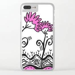Three Spring Flowers - Pink Clear iPhone Case