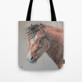 PONY Brown Horse portrait Pastel drawing Cute Foal Colt Baby Horse Tote Bag