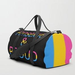 Pansexual and Proud (black bg) Duffle Bag