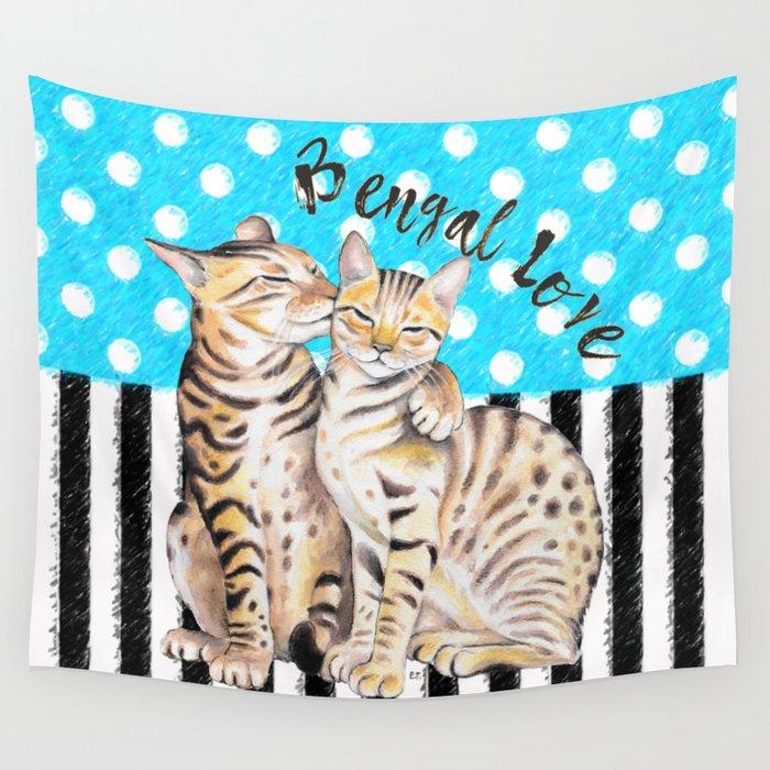 Bengal Cats Polka Dot Watercolor Love Wall Tapestry