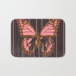 ANTIQUE GRUBY PINK BUTTERFLY ART Bath Mat