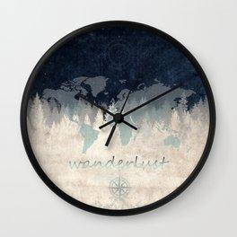 world map wanderlust forest 2 Wall Clock