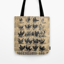 Vintage Chicken Study from 1895 Dictionary on Lancaster, PA antique almanac page Tote Bag