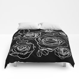 Feminine and Romantic Rose Pattern Line Work Illustration on Black Comforters