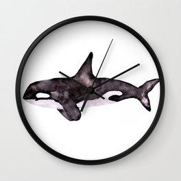 Watercolor Orca Killer Whale Wall Clock
