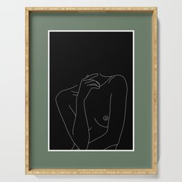 Nude figure line drawing illustration - Cecily Green Border Serving Tray