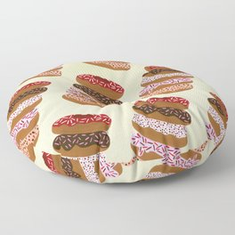 Stacked Donuts on Cream Floor Pillow