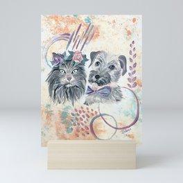 Scruffy Gray Cat and Dog Mini Art Print