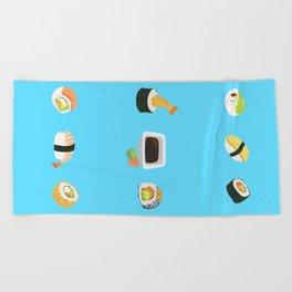 Sushi Pattern Beach Towel