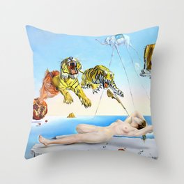 Salvador Dalí, Dream Caused by the Flight of a Bee Around a Pomegranate a Second Before Awakening 1944 Throw Pillow