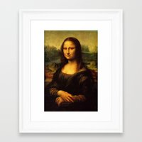 mona lisa Framed Art Prints featuring Mona Lisa by Elegant Chaos Gallery