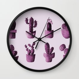 One cactus six cacti in pink Wall Clock